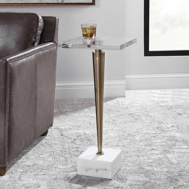 Campeiro Brass Drink Table - Size: 74H x 32W x 32D (cm)