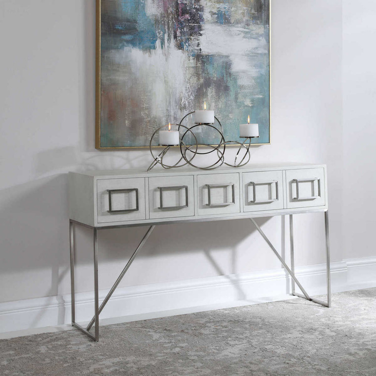 Abaya White Console Table - Size: 81H x 137W x 36D (cm)