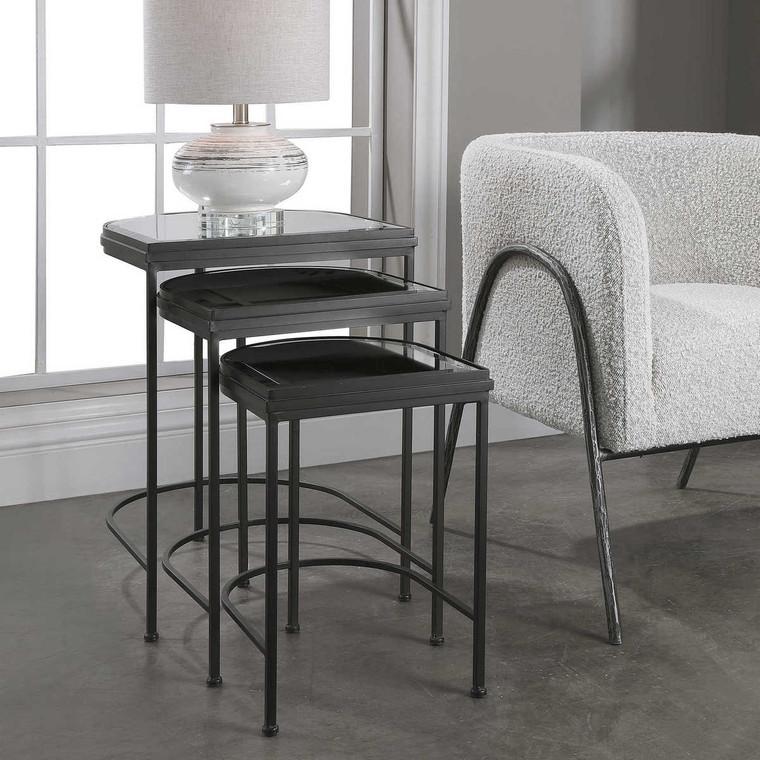 India Black Nesting Tables Set/3 - Size: 61H x 48W x 45D (cm)