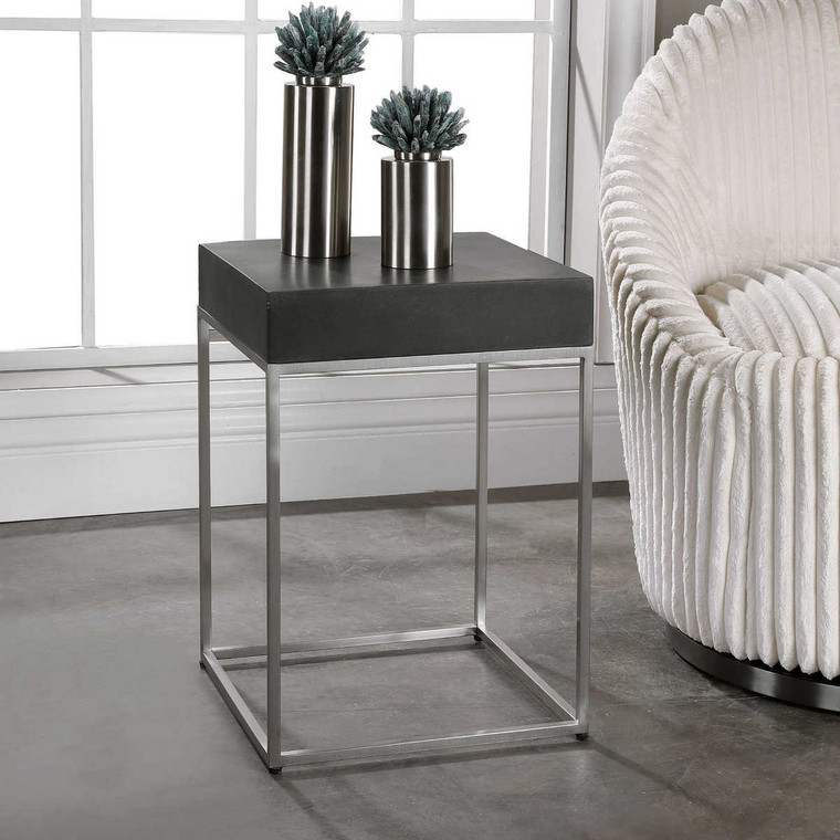 Jase Black Concrete Accent Table - Size: 51H x 36W x 36D (cm)
