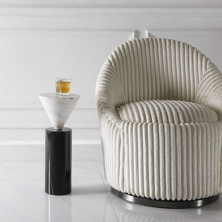 Top Hat Marble Drink Table - Size: 51H x 22W x 22D (cm)
