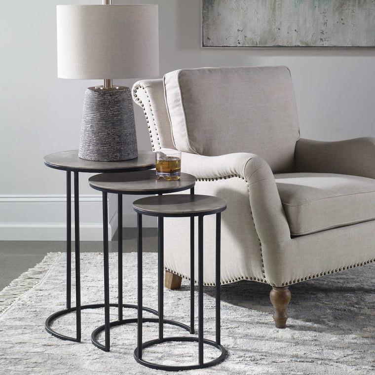 Erik Metal Nesting Tables Set/3 - Size: 60H x 43W x 43D (cm)