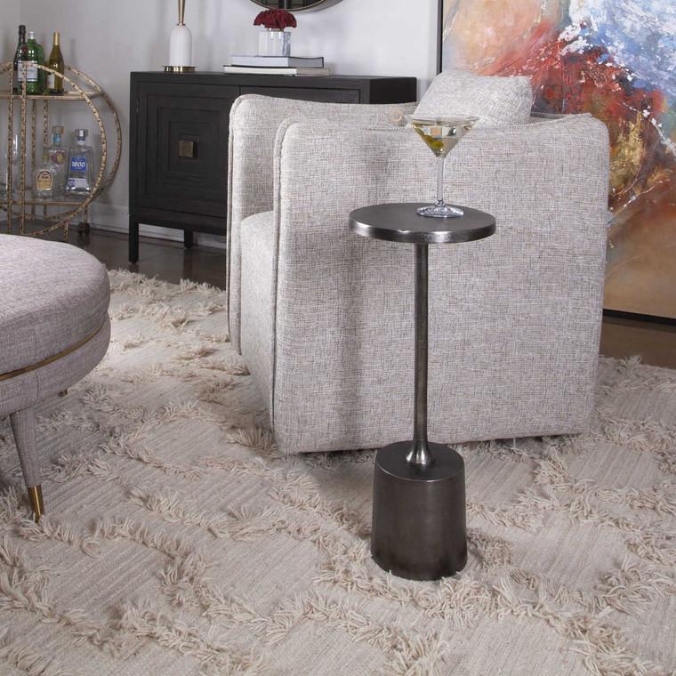 Sanaga Drink Table Nickel - Size: 62H x 25W x 25D (cm)