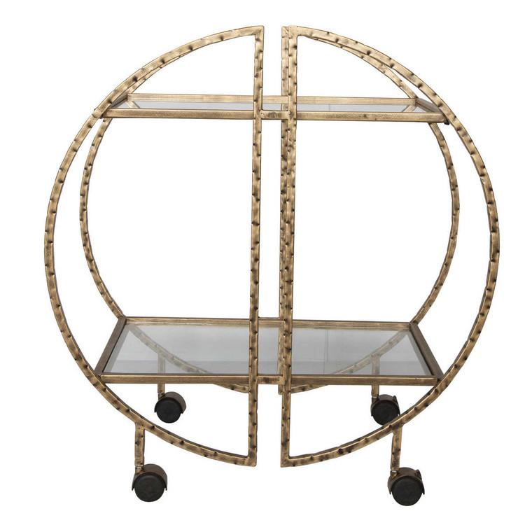 Zelina Gold Bar Cart - Size: 83H x 77W x 45D (cm)