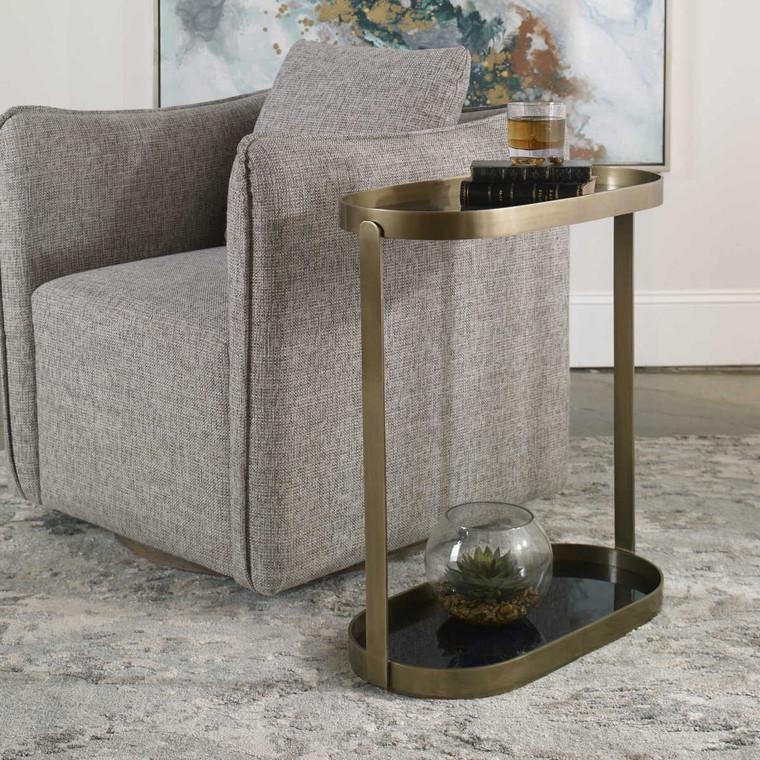 Adia Antique Gold Accent Table - Size: 67H x 58W x 29D (cm)
