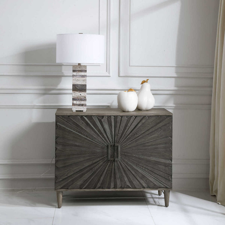 Shield Gray Oak 2 Door Cabinet - Size: 81H x 102W x 46D (cm)