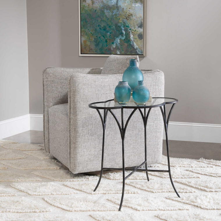 Adhira Glass Accent Table - Size: 61H x 61W x 39D (cm)