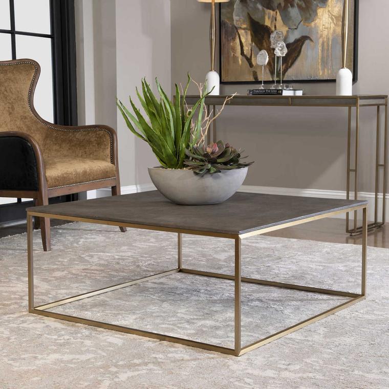 Trebon Modern Coffee Table - Size: 41H x 97W x 97D (cm)