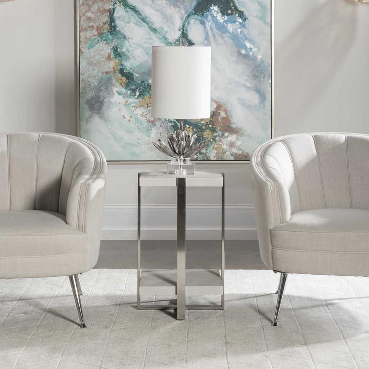 Arnaut White Accent Table - Size: 64H x 41W x 41D (cm)