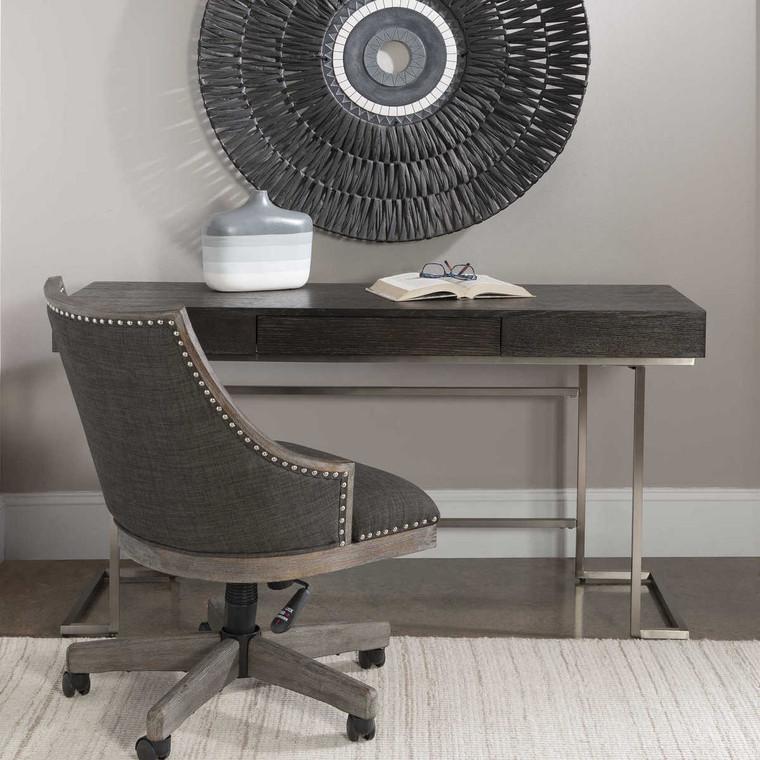 Claude Modern Oak Desk - Size: 76H x 142W x 51D (cm)