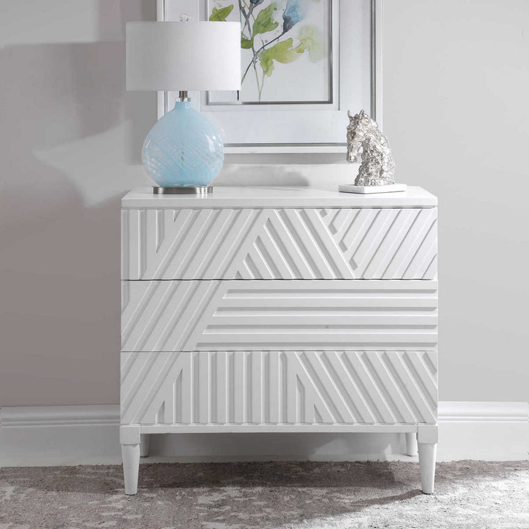 Colby White Drawer Chest - Size: 84H x 91W x 46D (cm)