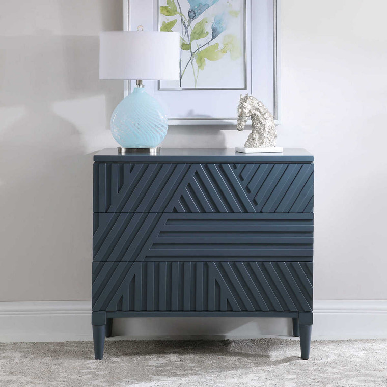 Colby Blue Drawer Chest - Size: 84H x 91W x 46D (cm)