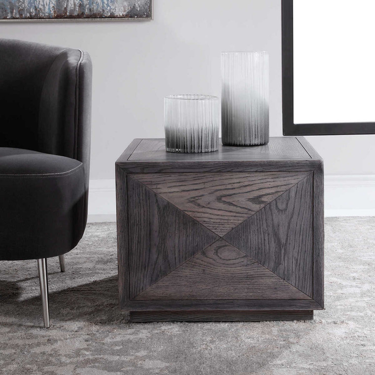 Curtley Wooden Cube Table - Size: 43H x 56W x 56D (cm)