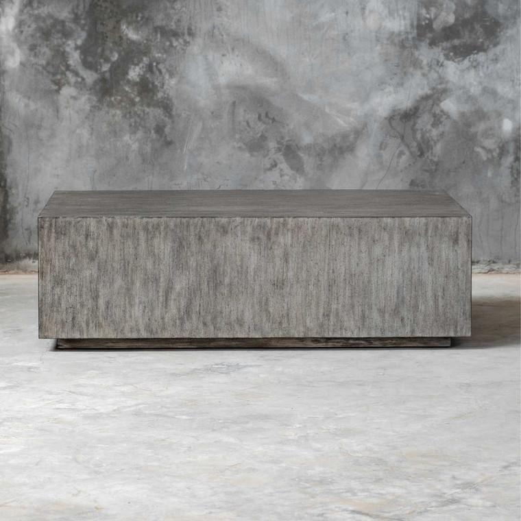 Kareem Modern Gray Coffee Table - Size: 41H x 133W x 82D (cm)