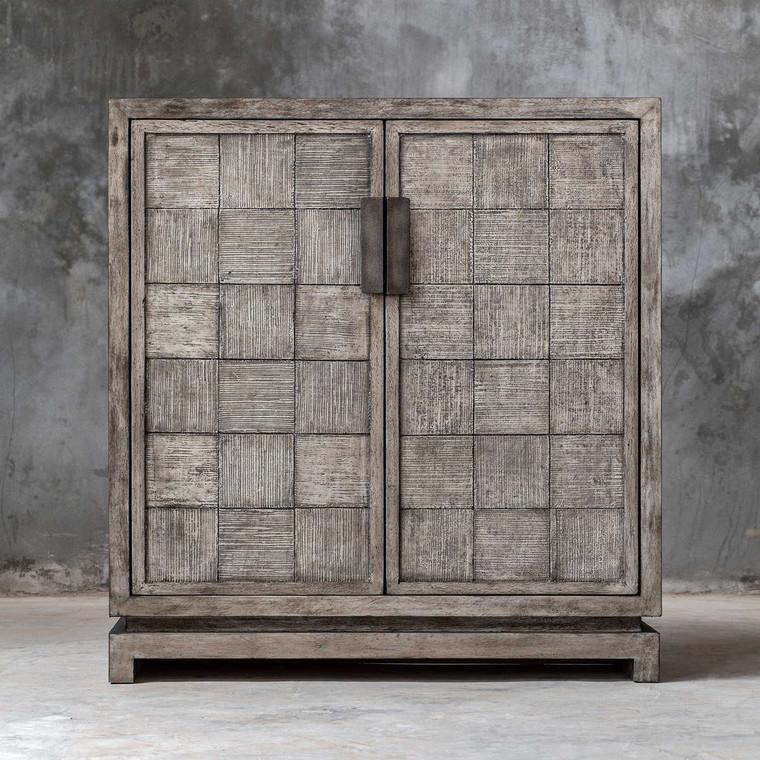 Hamadi Distressed Gray 2 Door Cabinet - Size: 91H x 86W x 30D (cm)