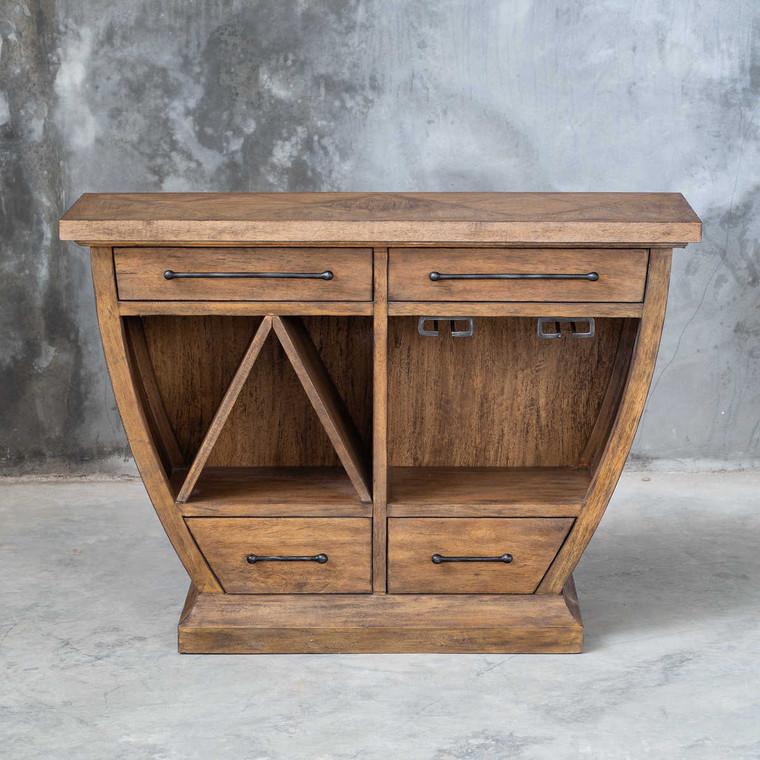 Aleph Rustic Wood Bar Cabinet - Size: 81H x 117W x 41D (cm)