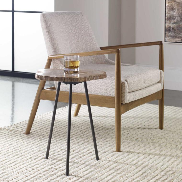 Mircea Petrified Wood Accent Table - Size: 51H x 41W x 41D (cm)