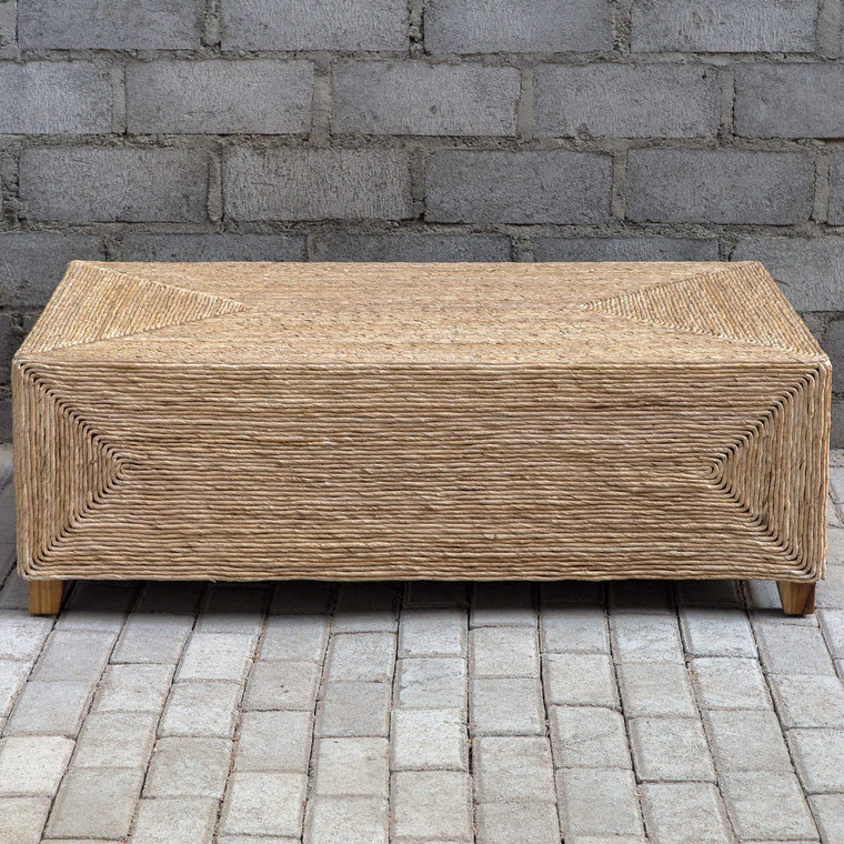 Rora Woven Coffee Table - Size: 41H x 122W x 71D (cm)