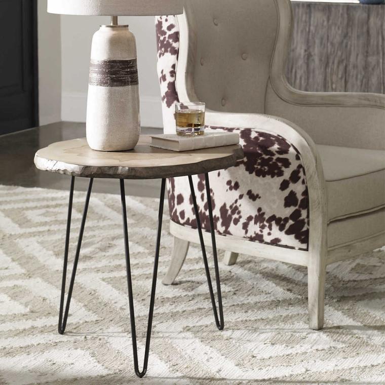 Runay Wood Slab Side Table - Size: 60H x 56W x 56D (cm)