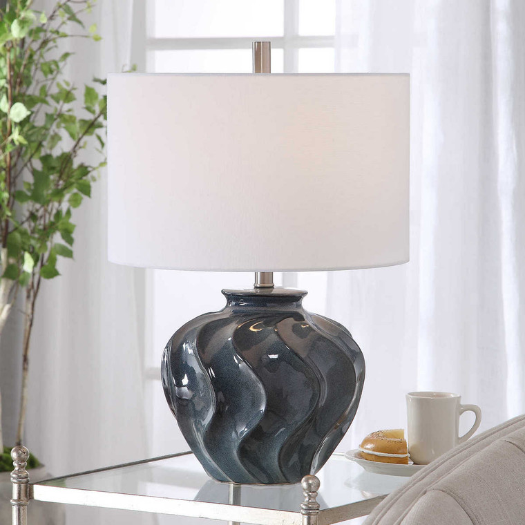 Aquilina Aged Blue Table Lamp - Size: 61H x 41W x 41D (cm)