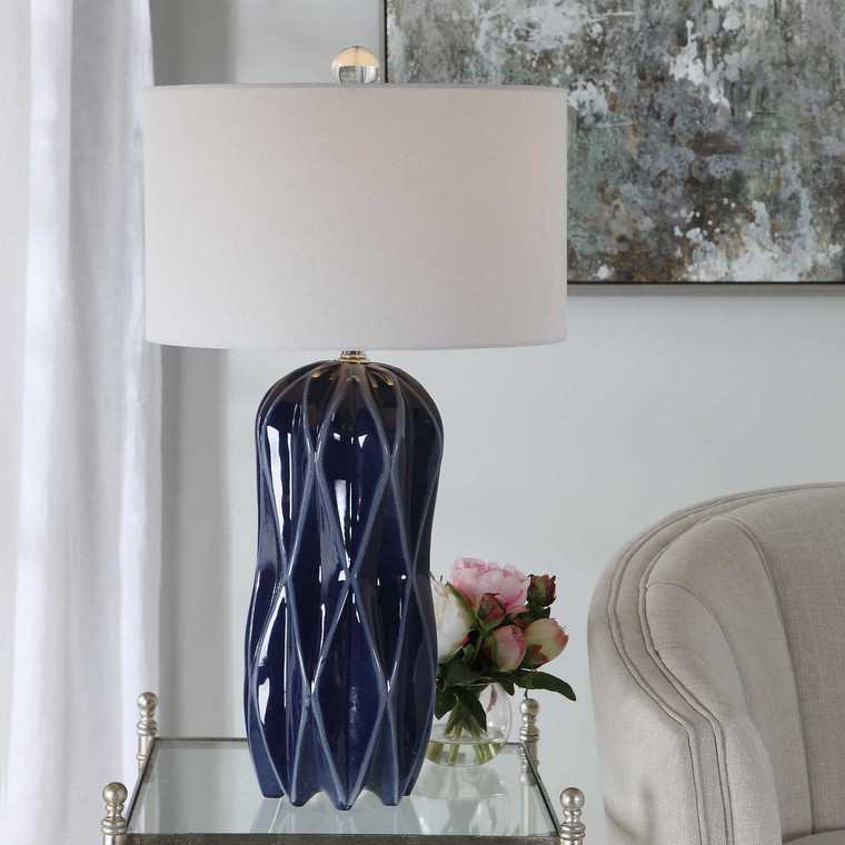 Malena Blue Table Lamp - Size: 78H x 43W x 43D (cm)