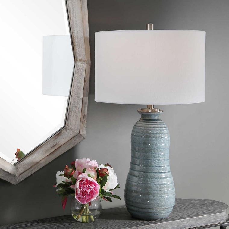 Zaila Light Blue Table Lamp - Size: 71H x 41W x 41D (cm)