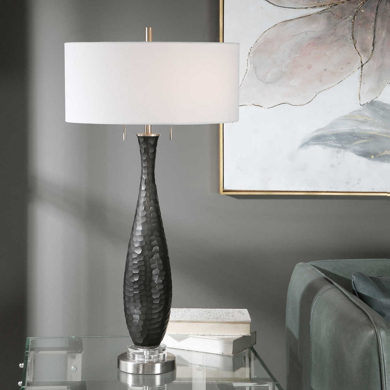 Jothan Frosted Black Table Lamp - Size: 88H x 43W x 43D (cm)