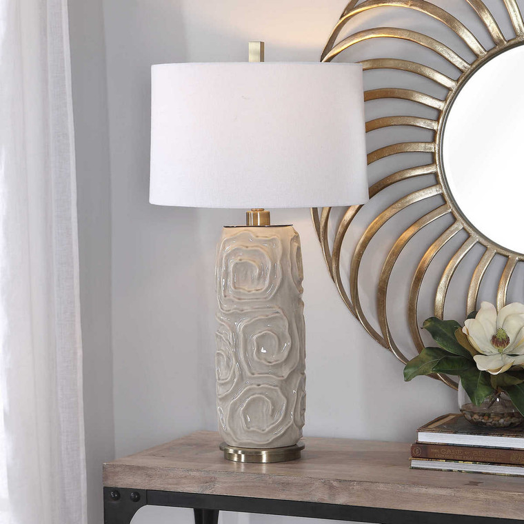 Zade Warm Gray Table Lamp - Size: 86H x 46W x 46D (cm)
