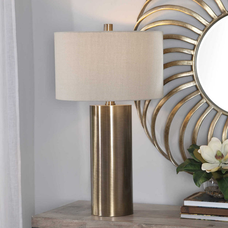 Taria Brushed Brass Table Lamp - Size: 80H x 46W x 46D (cm)