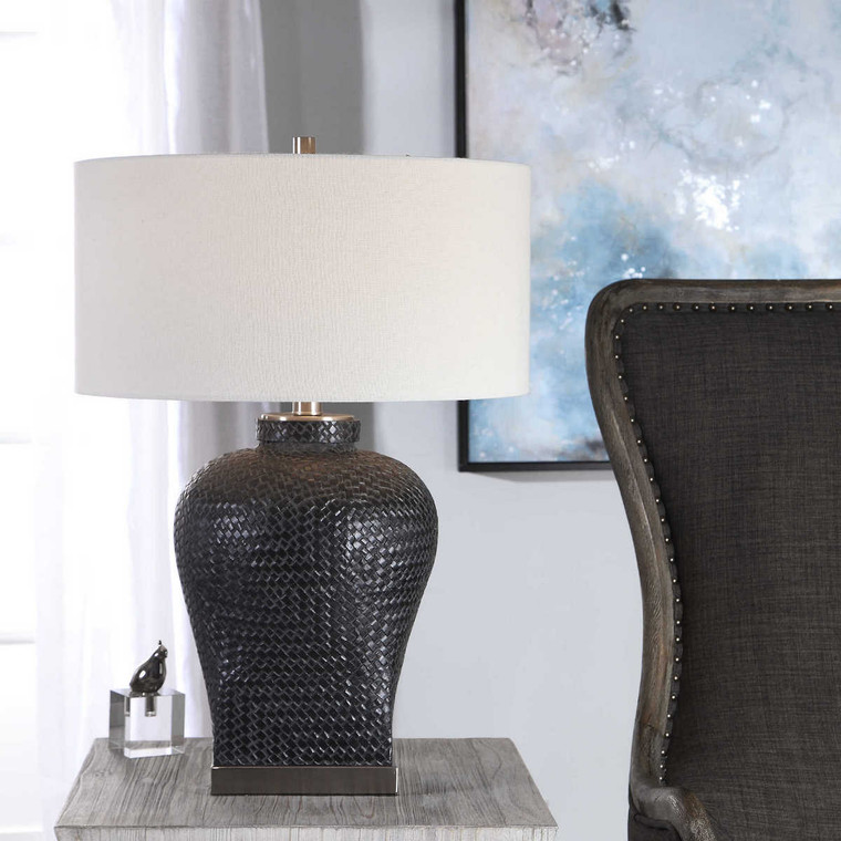 Akello Weave Texture Table Lamp - Size: 73H x 51W x 51D (cm)