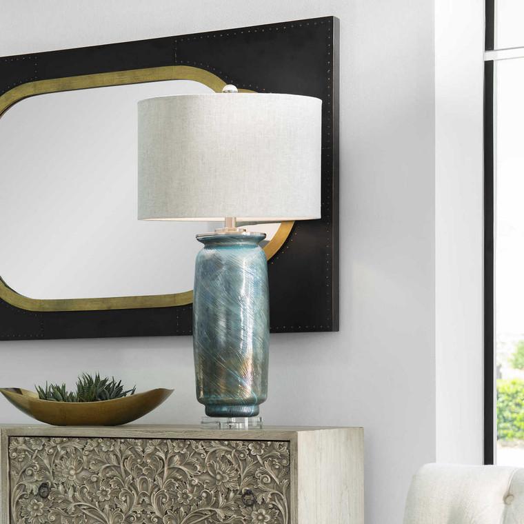 Olesya Swirl Glass Table Lamp - Size: 77H x 41W x 41D (cm)