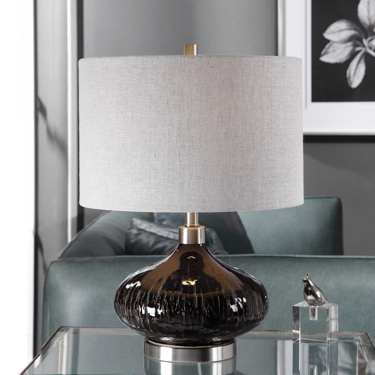 Ampara Deep Charcoal Table Lamp - Size: 56H x 41W x 41D (cm)