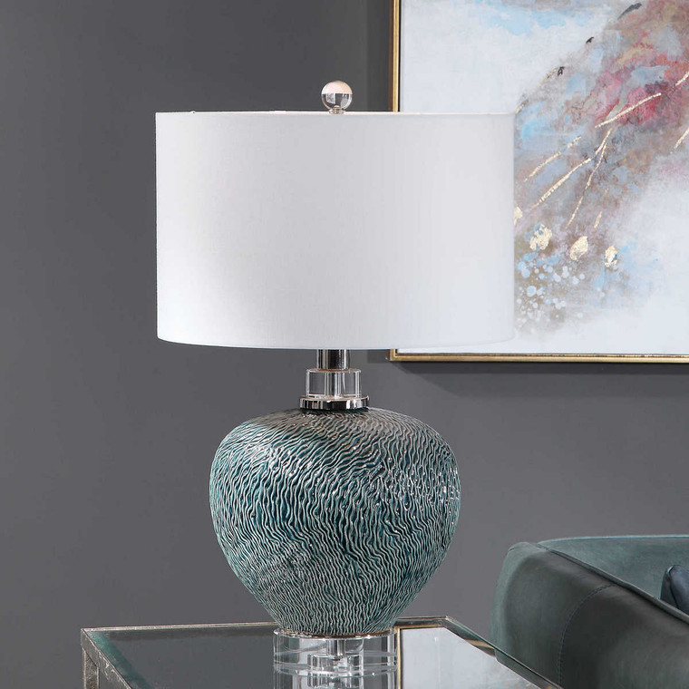 Almera Dark Teal Table Lamp - Size: 65H x 41W x 41D (cm)