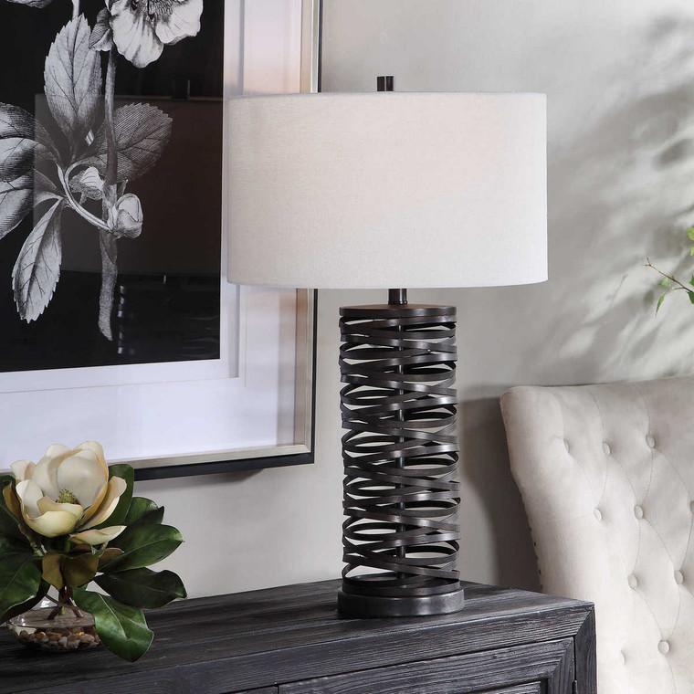 Alita Rust Black Table Lamp - Size: 74H x 43W x 43D (cm)
