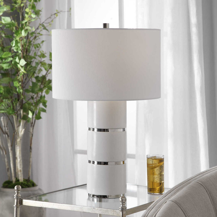 Grania White Marble Table Lamp - Size: 66H x 41W x 41D (cm)