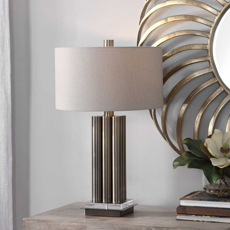 Conran Brass Table Lamp - Size: 67H x 41W x 41D (cm)