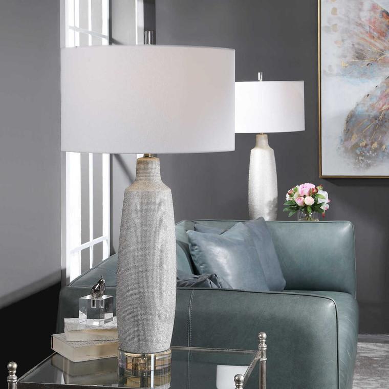 Kathleen Metallic Silver Table Lamp - Size: 88H x 46W x 46D (cm)