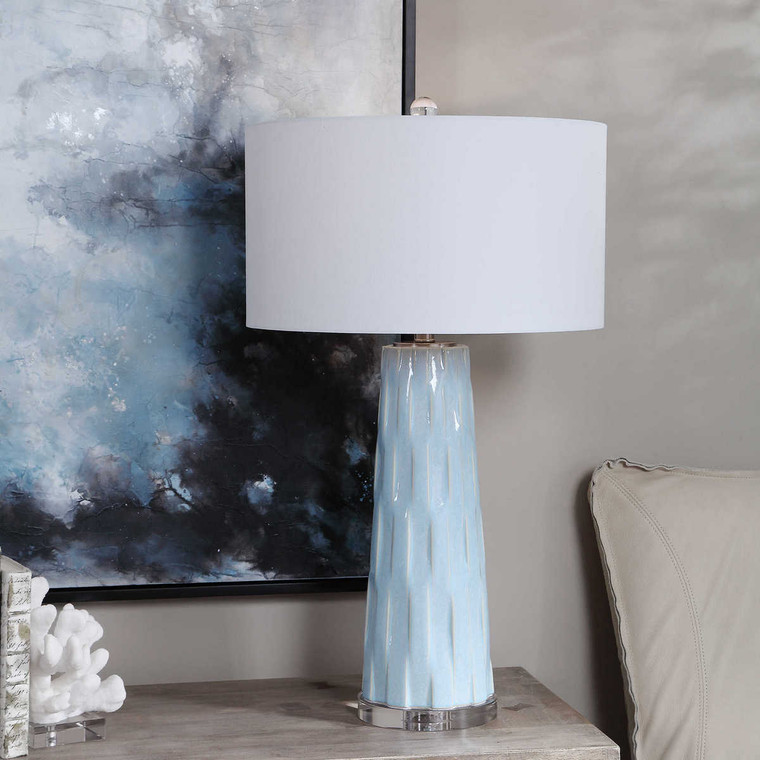 Brienne Light Blue Table Lamp - Size: 78H x 46W x 46D (cm)