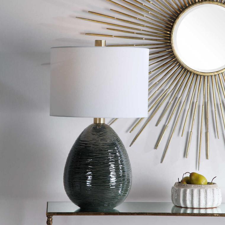 Arikara Dark Teal Table Lamp - Size: 70H x 41W x 41D (cm)