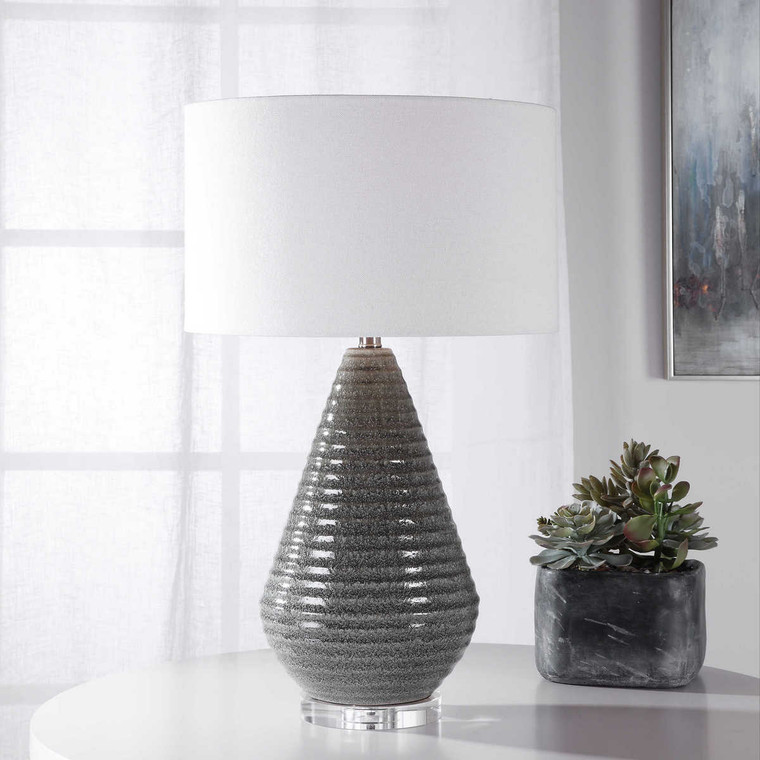 Carden Smoke Gray Table Lamp - Size: 70H x 43W x 43D (cm)