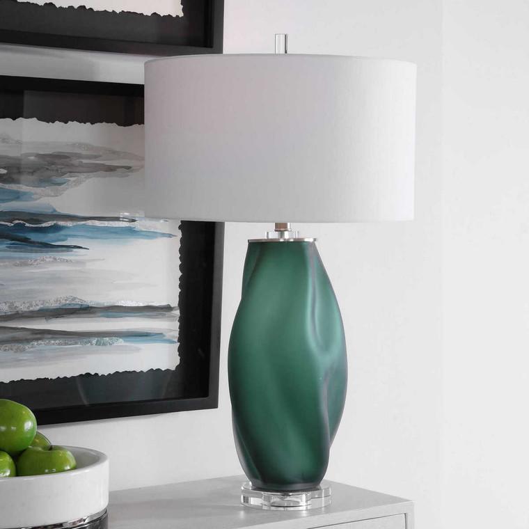Esmeralda Green Glass Table Lamp - Size: 74H x 43W x 43D (cm)