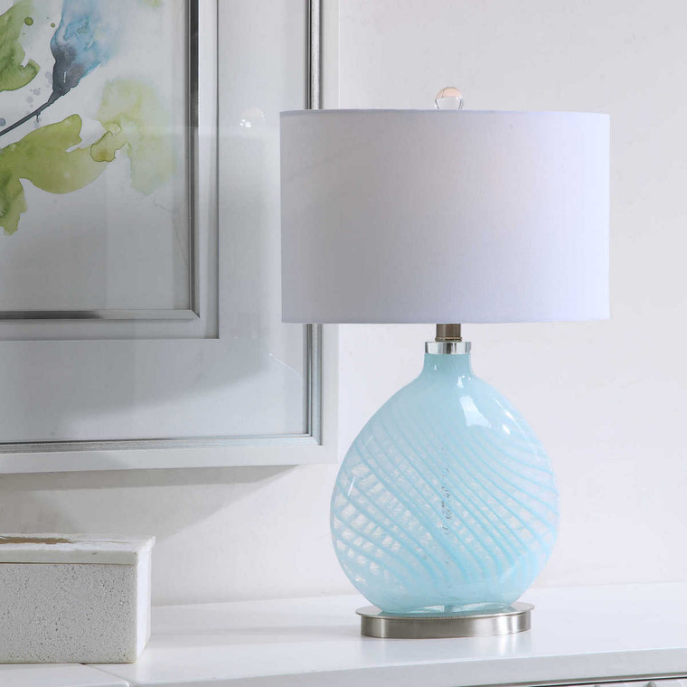 Aquata Glass Table Lamp - Size: 55H x 34W x 20D (cm)
