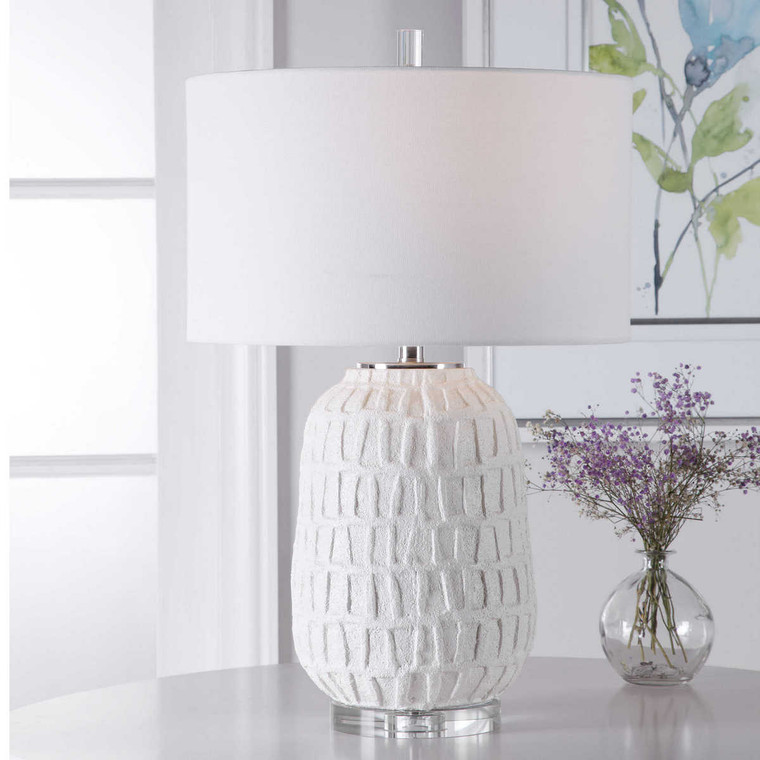 Caelina Textured White Table Lamp - Size: 67H x 43W x 43D (cm)