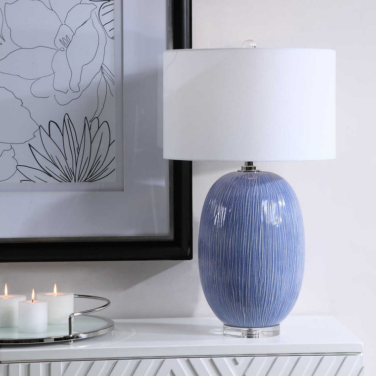 Westerly Blue Table Lamp - Size: 78H x 46W x 46D (cm)