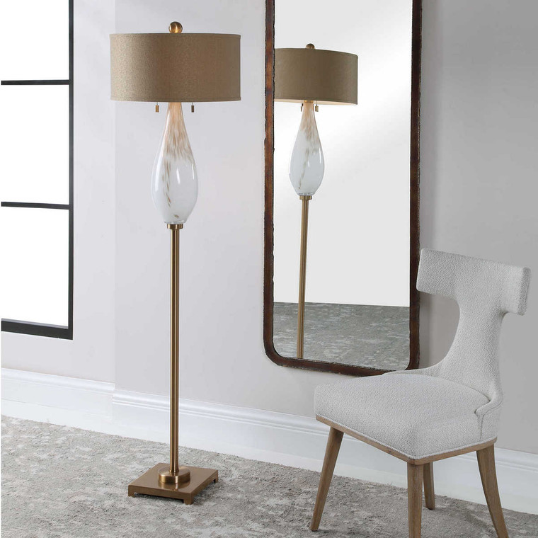 Cardoni White Glass Floor Lamp - Size: 170H x 46W x 46D (cm)
