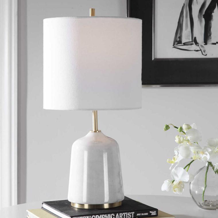 Eloise White Marble Table Lamp - Size: 51H x 25W x 25D (cm)