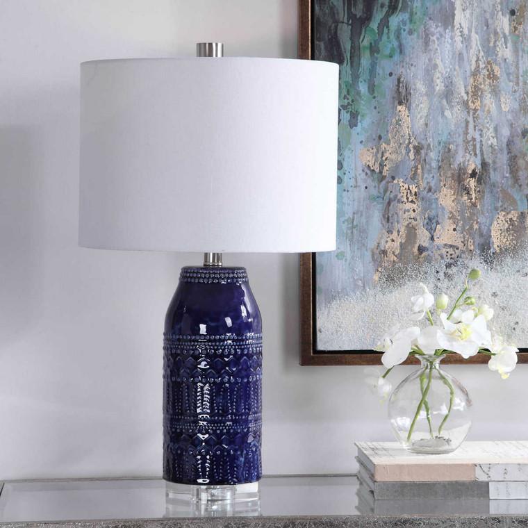 Reverie Blue Table Lamp - Size: 63H x 36W x 36D (cm)