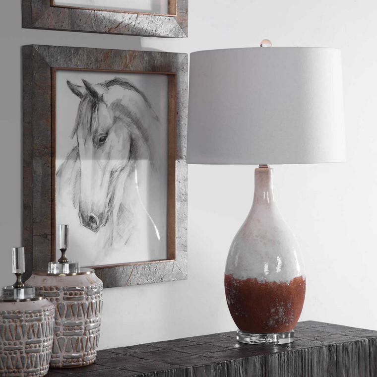 Durango Rust White Table Lamp - Size: 74H x 39W x 39D (cm)