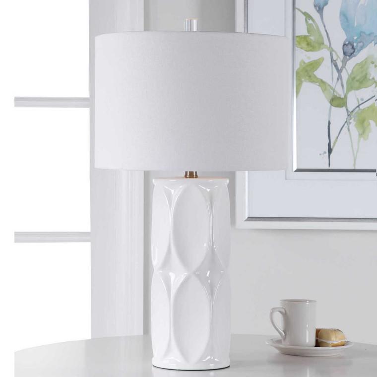 Sinclair White Table Lamp - Size: 66H x 38W x 38D (cm)