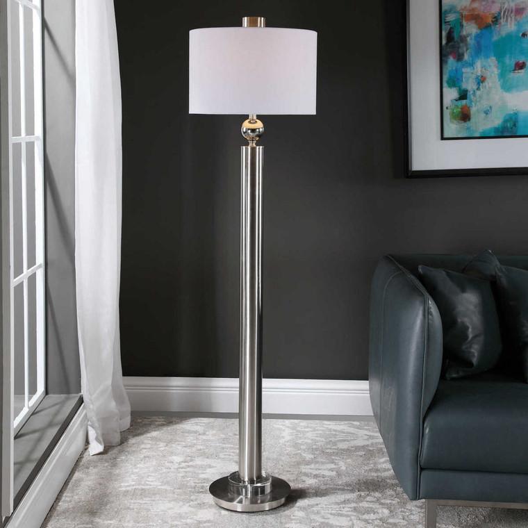 Silverton Brushed Nickel Floor Lamp - Size: 165H x 43W x 43D (cm)